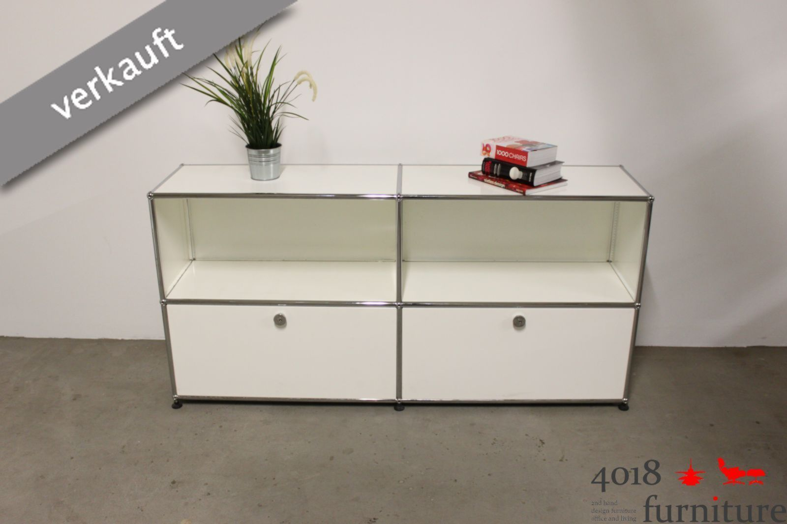 usm haller sideboard weiss mit 4 feldern 2 ausz ge 2 offen. Black Bedroom Furniture Sets. Home Design Ideas