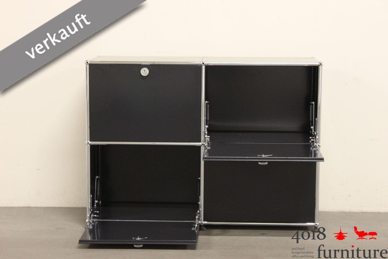USM Haller Sideboard schwarz 4 Klappen altes System