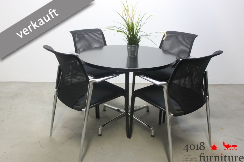 Vitra Chalres Eames : Vitra charles eames contract table schwarz cm tisch chrom basic dark