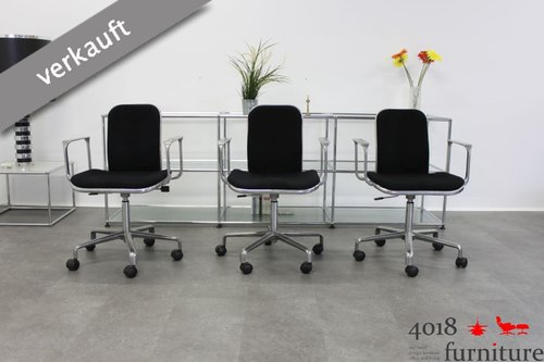 3 x Fred Scott Supporto Chair Hille Aluminium